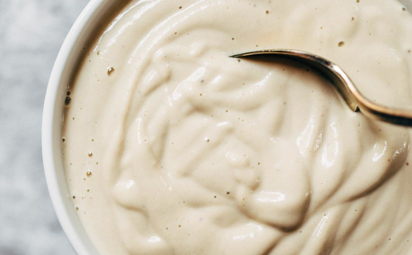 5 Minute Cashew Sauce - just four easy ingredients: cashews, garlic, salt, and water! Perfect base sauce recipe for pasta, dips, or cheesy sauce alternatives. Vegan. | pinchofyum.com